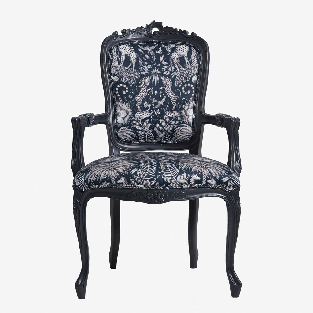 The Kruger Antoinette Chair displays the stunning Navy Kruger cotton satin fabric from the Animalia collection made by Emma J Shipley and Clarke & Clarke