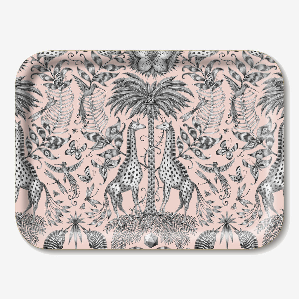 The Kruger Tray is an enchanting pink toned scene of giraffes, zebras and tropical plants designed by Emma J Shipley