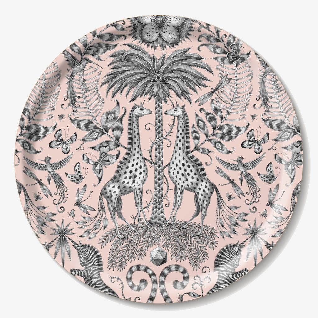 The round Kruger Tray features a majestic design of giraffes, zebras, birds and tropical plants created by Emma J Shipley