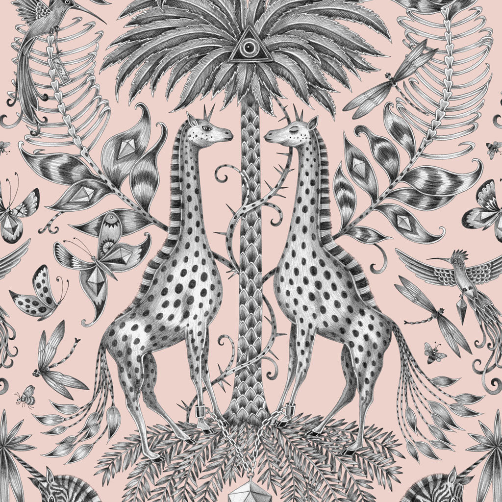 Two magical giraffes encircle a towering palm tree in the Kruger design by Emma J Shipley
