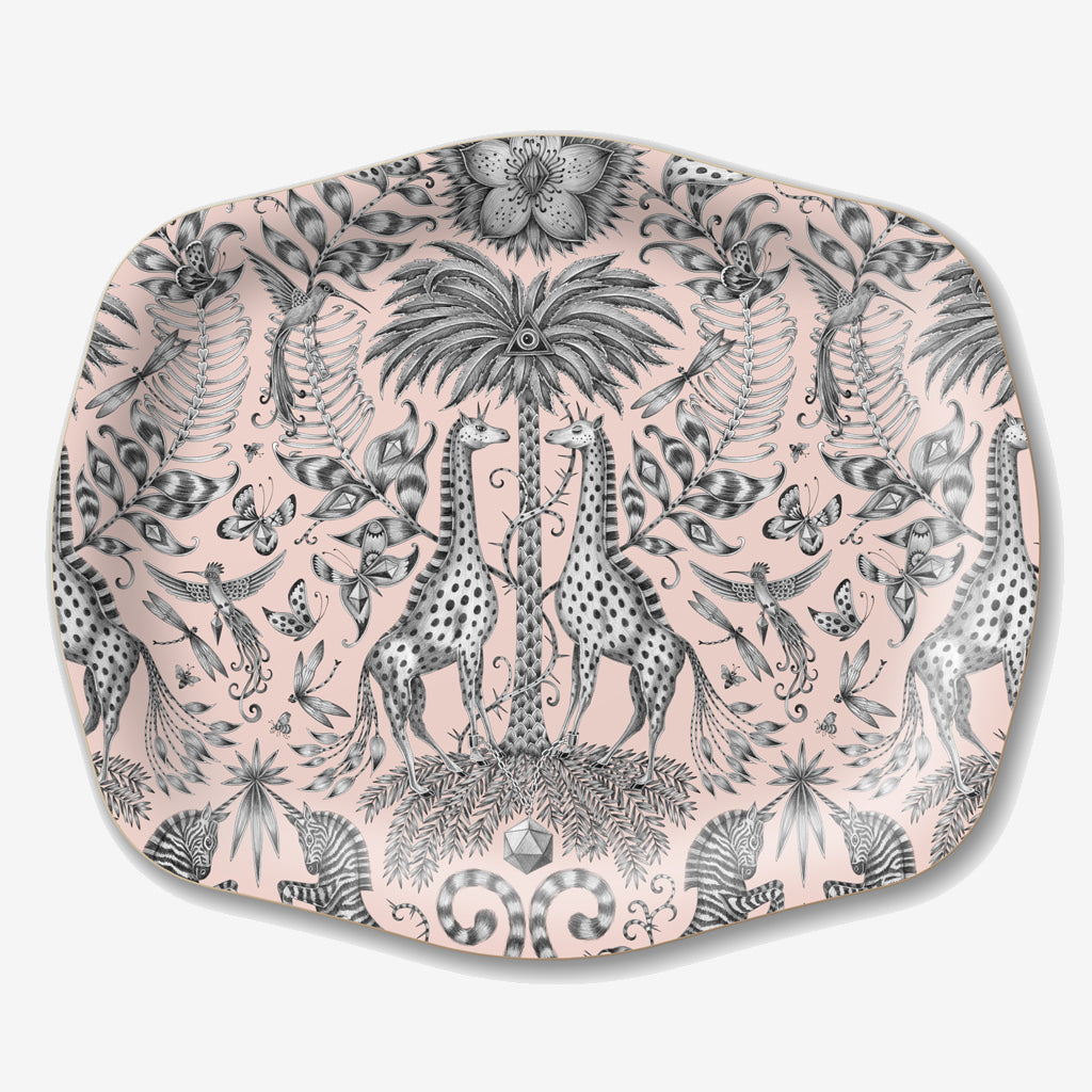 This birch wood tray features the Kruger design by Emma J Shipley, hosting an array of safari creatures