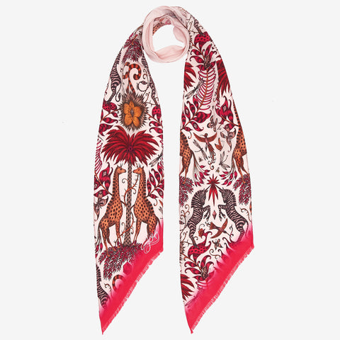 The magical Kruger design upon a silk skinny scarf in pink, orange and red