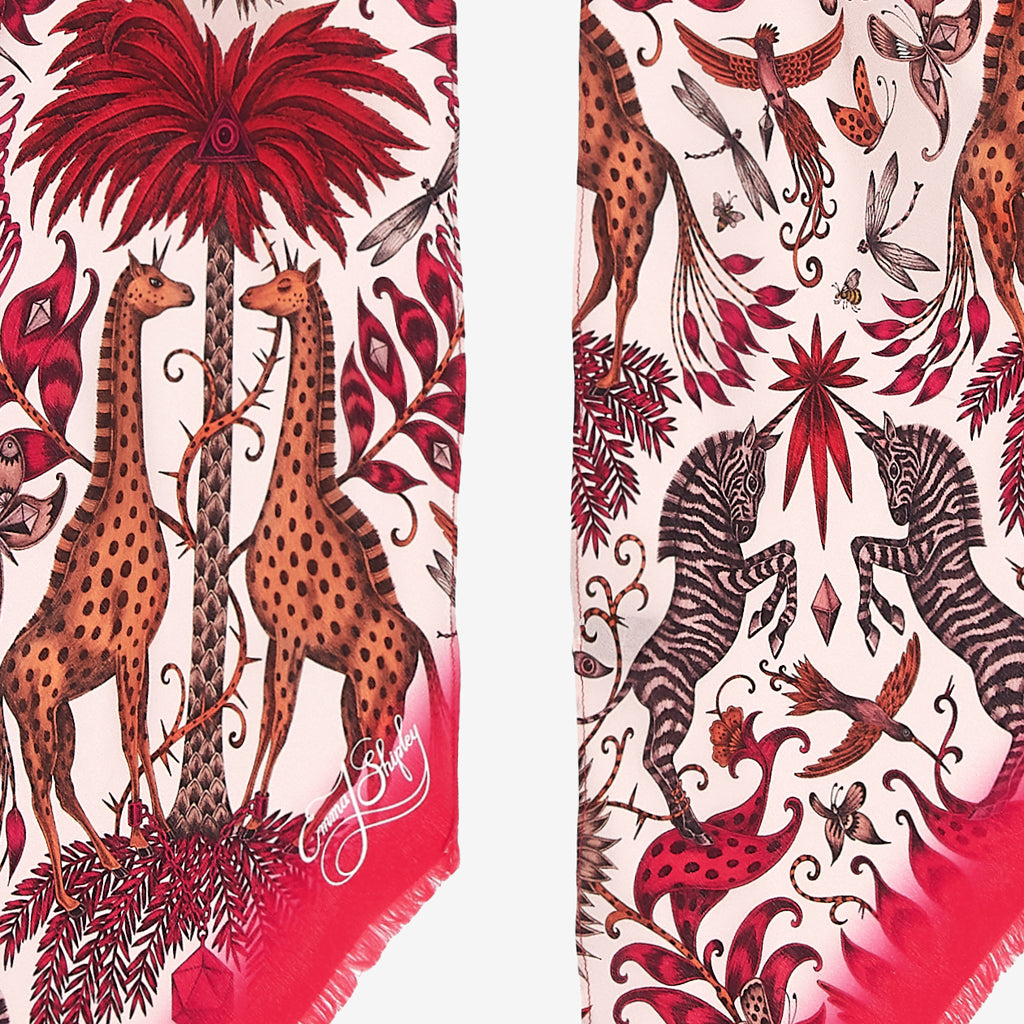 Close up of the luxurious Kruger design hand drawn by Emma J Shipley, printed on a luxury silk skinny scarf