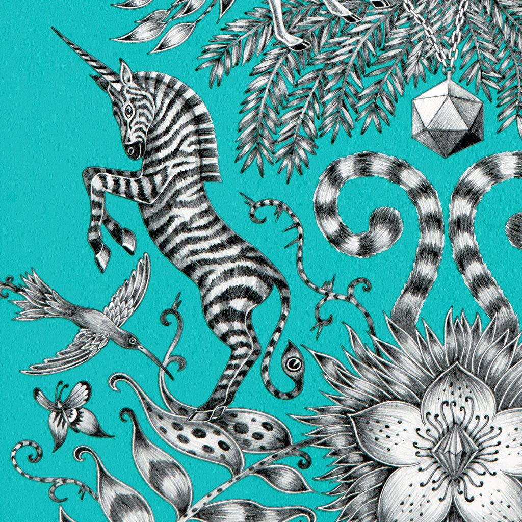 Detail of the vibrant Kruger Wallpaper designed by Emma J Shipley x Clarke & Clarke