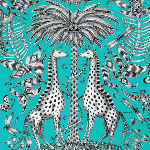 Detail of the vibrant teal Kruger Wallpaper designed by Emma J Shipley x Clarke & Clarke