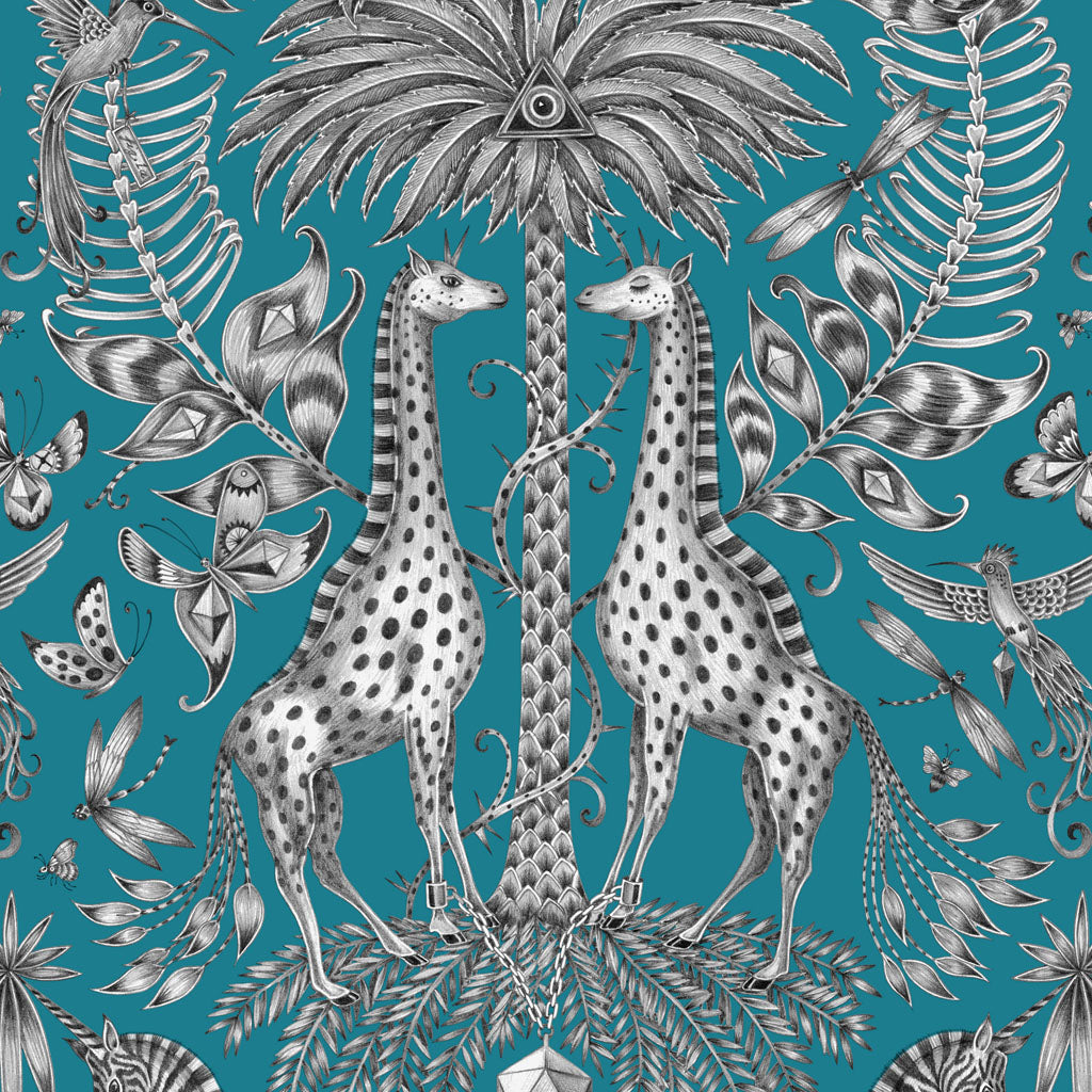 A closer look at the towering palm tree and curious giraffes of the Kruger design, hand drawn by Emma J Shipley