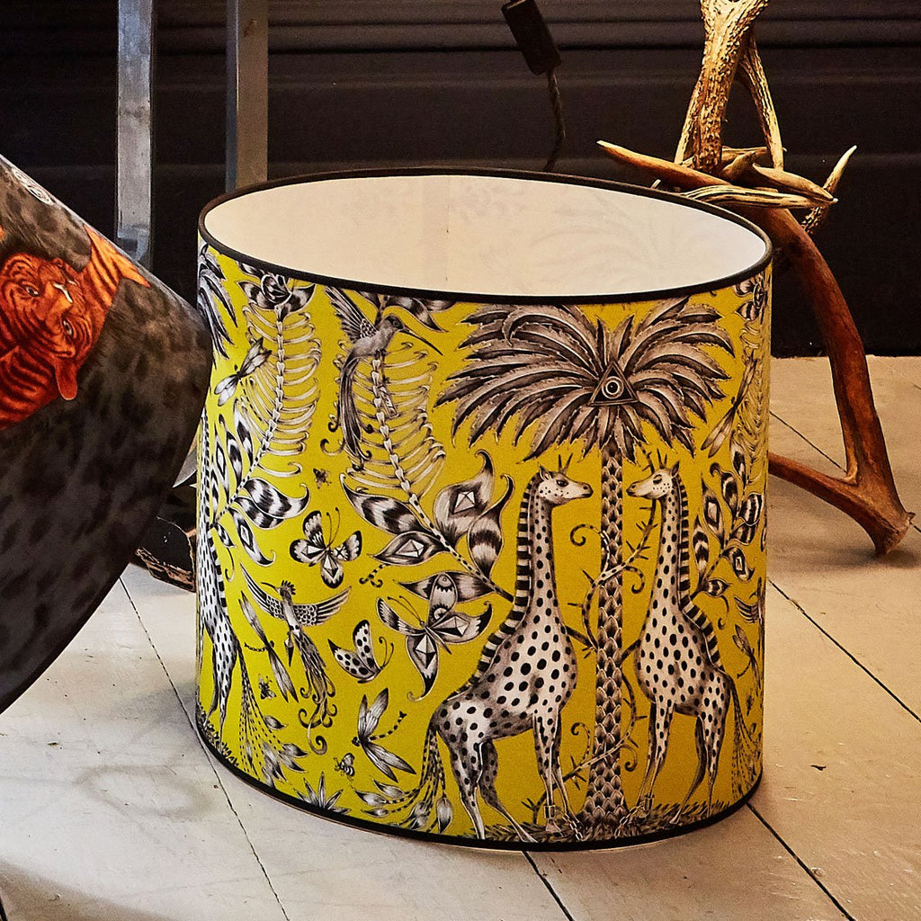 Emma J Shipley Kruger Lampshade featuring magical giraffes in lime acid yellow