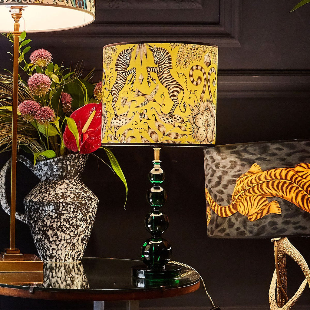 The small Kruger lampshade from Emma J Shipley, featuring Zebra unicorns in a lime yellow colour
