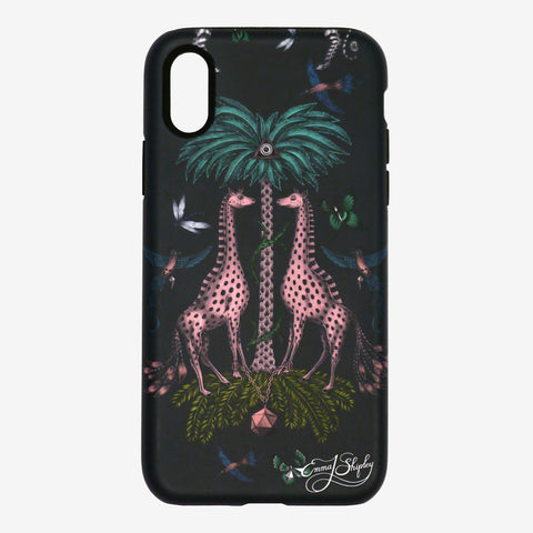 Front view of the Kruger Phone Case by Emma J Shipley featuring two majestic giraffes being shaded by a palm tree