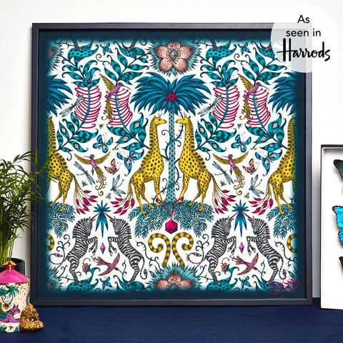 The Kruger Design Reimagined in a bold and colourful way and printed on fine silk for this artwork designed by Emma J Shipley. Hang this piece anywhere in your home to bring a touch of animal magic and vibrant colour