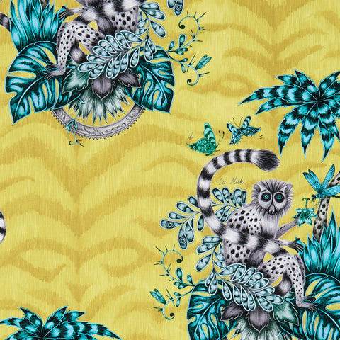 The fantastical lime Lemur cotton satin fabric designed by Emma J Shipley in collaboration with Clarke & Clarke featuring