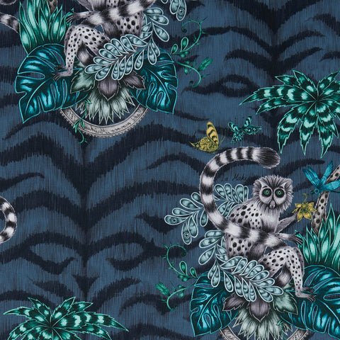 The fantastical navy Lemur cotton satin fabric designed by Emma J Shipley in collaboration with Clarke & Clarke featuring