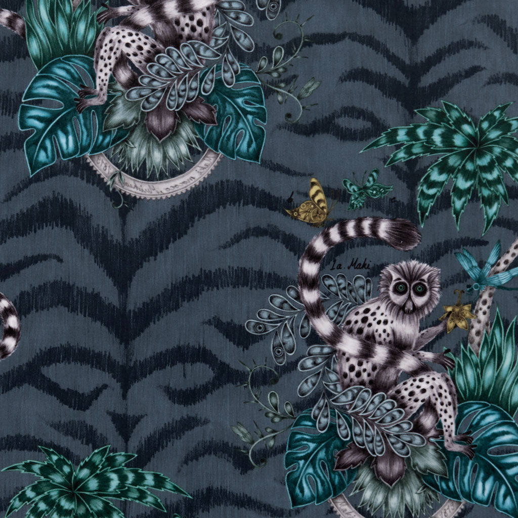 Stunning animalistic design of the Lemur illustration, featuring a curious lemur. Navy velvet fabric used to upholster Emma J Shipley x Clarke & Clarke Animalia furniture pieces