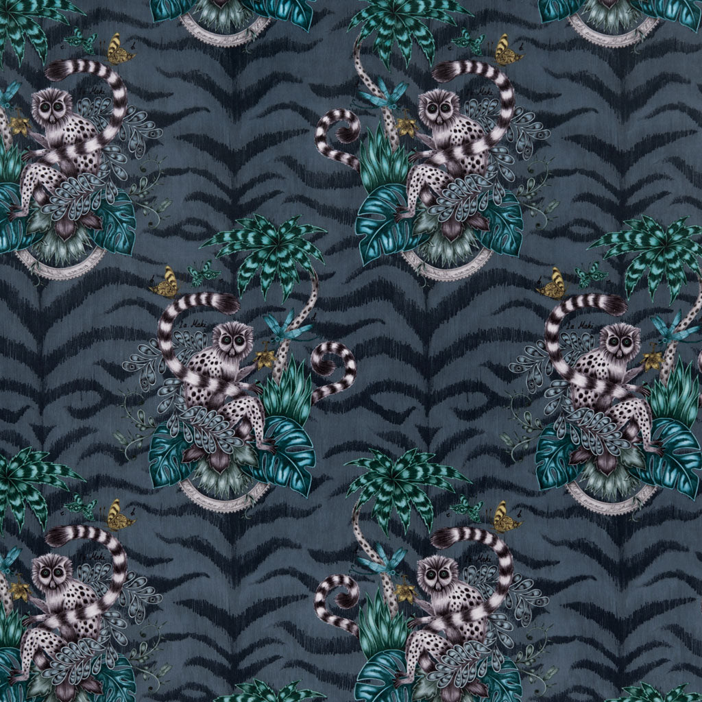The exotic navy Lemur velvet fabric designed by Emma J Shipley in collaboration with Clarke & Clarke featuring