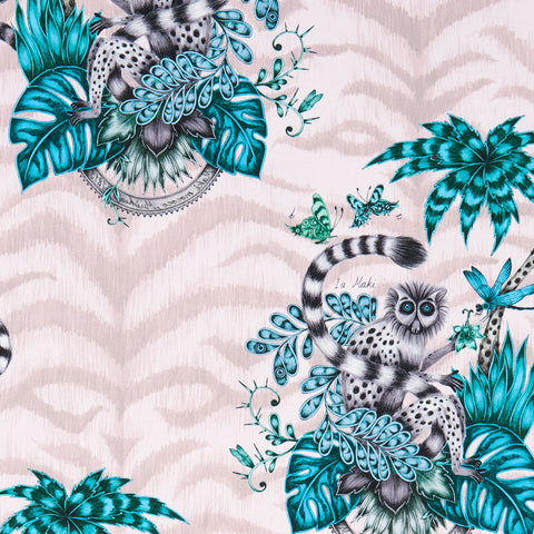 The exotic pink Lemur cotton satin fabric designed by Emma J Shipley in collaboration with Clarke & Clarke featuring exotic lemurs resting in the foliage