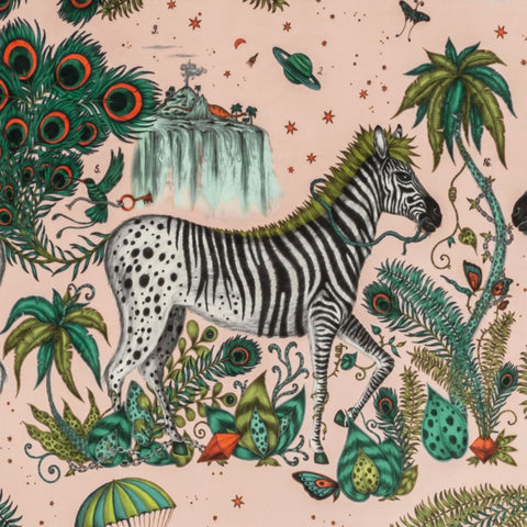 Lost World Pink Velvet close view, showing a detailed look at the Zebras, Palm Trees and Parachutes. Designed by Emma J Shipley as part of the Wilderie collection