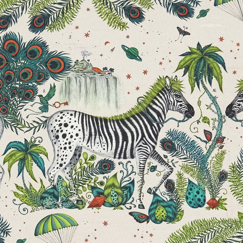 A closer look at the Lost World Linen in Teal, Hand drawn by Emma J Shipley and produced with Clarke & Clarke
