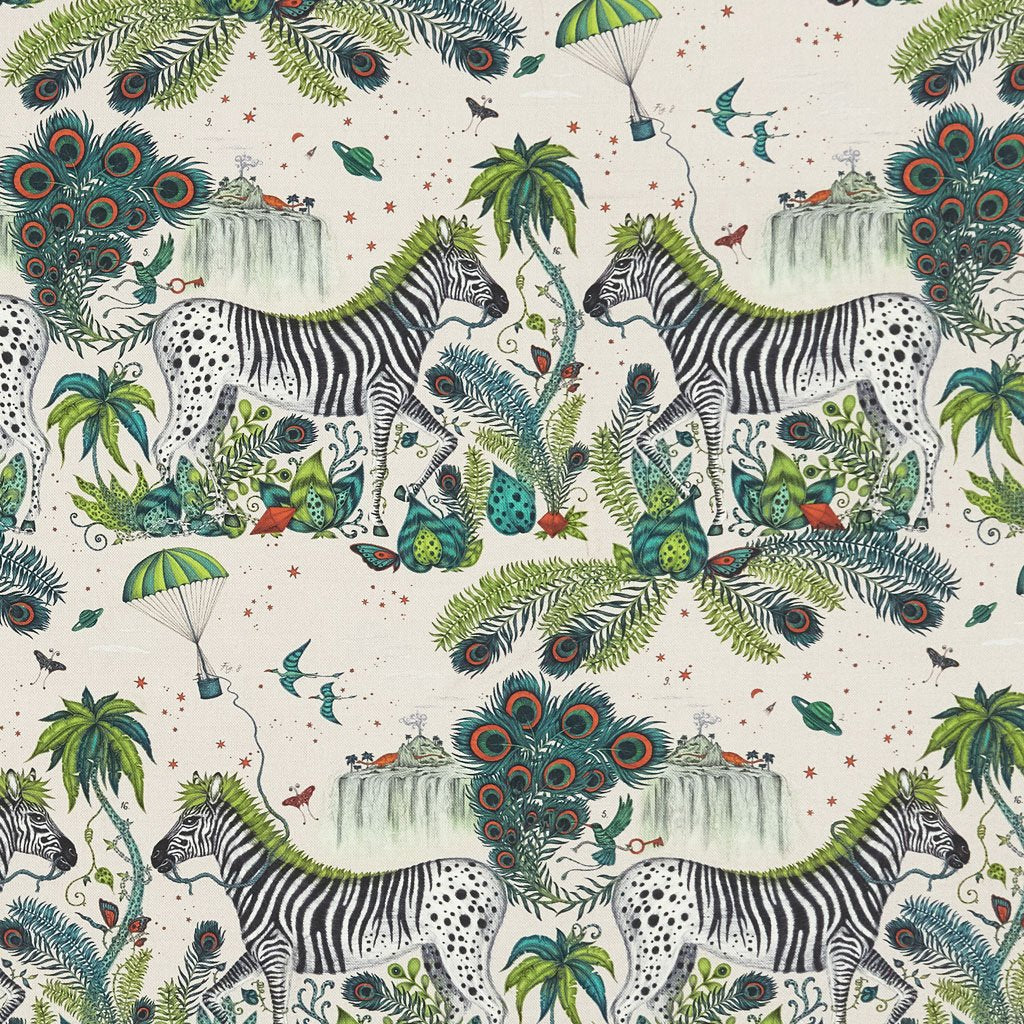 An overall view of the Lost World Print in Teal, printed onto linen for the new Wilderie collection done by Emma J Shipley with Clarke & Clarke