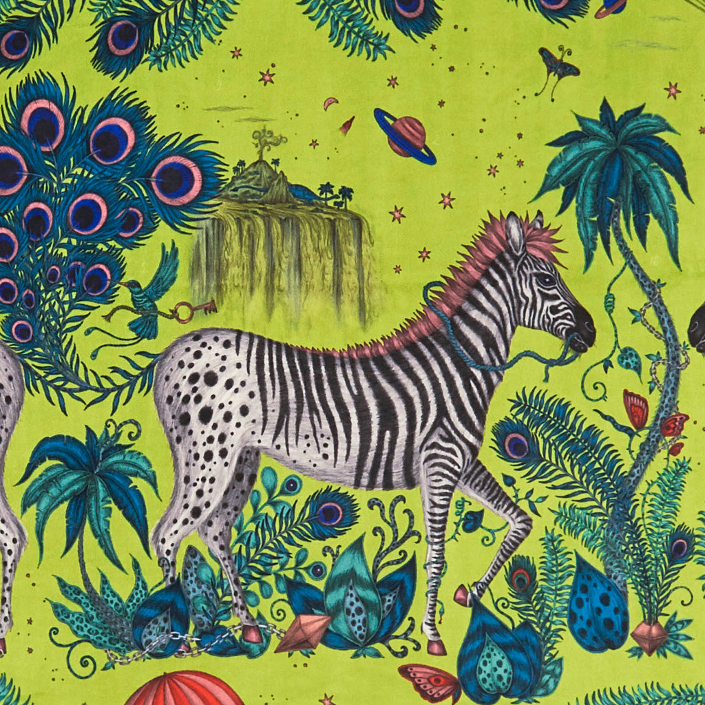 A Close up of the Lime Lost World Velvet, Designed by Emma J Shipley with Clarke & Clarke for the Magical new Wilderie Colllection