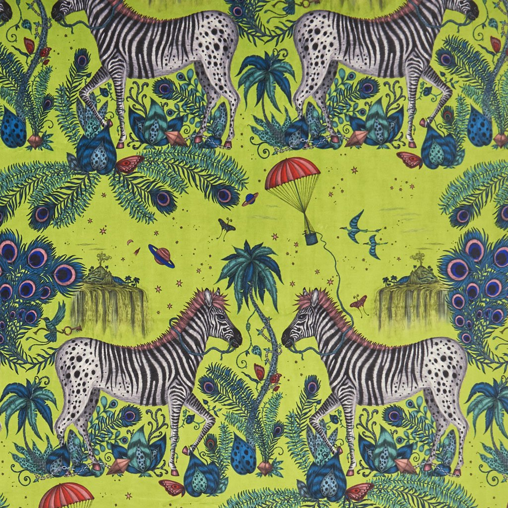 An Overview of the Lost World Lime Velvet, hand drawn by Emma J Shipley, the magical print features Zebras, Peacock feathers and vintage style parachutes