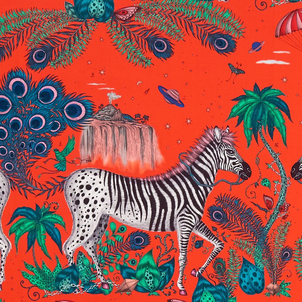 The Lost World Red Cotton Satin is a magical fabric that can be used to make Cushions, curtains and upholster chairs. Designed by Emma J Shipley and made with Clarke & Clarke