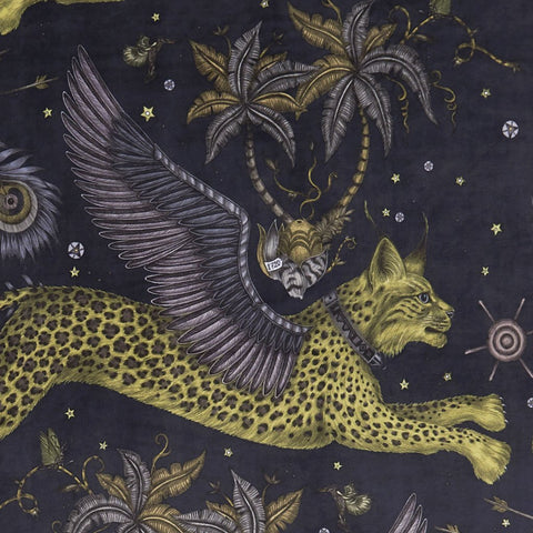 A closer look at the Lynx Velvet in Grey, Hand drawn by Emma J Shipley and produced with Clarke & Clarke