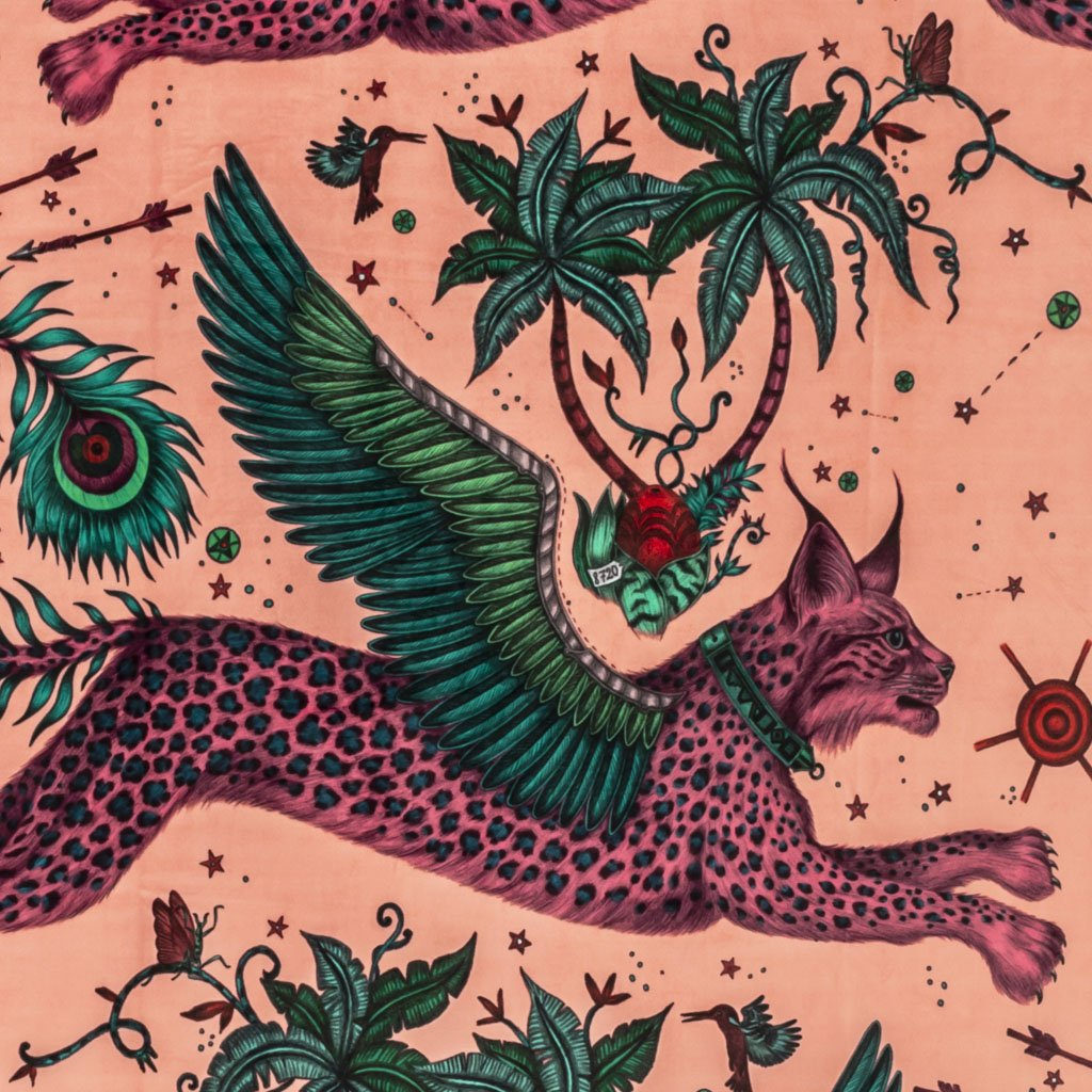 A closer look at the Lynx Velvet in Pink, Hand drawn by Emma J Shipley and produced with Clarke & Clarke
