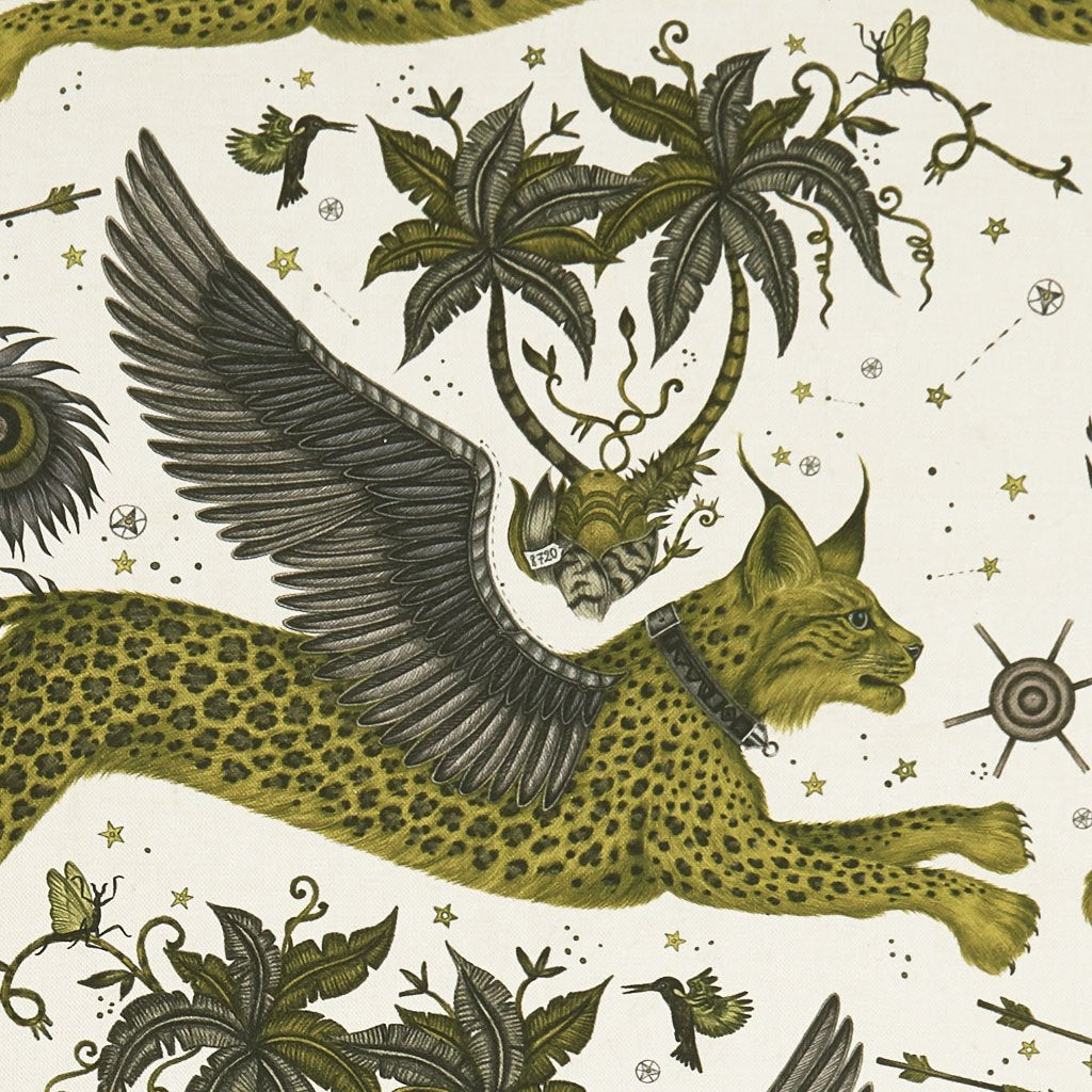 Lynx Gold Yellow Linen close view, showing a detailed look at the Lynx, Palm Trees and Wings. Designed by Emma J Shipley as part of the Wilderie collection with Clarke & Clarke