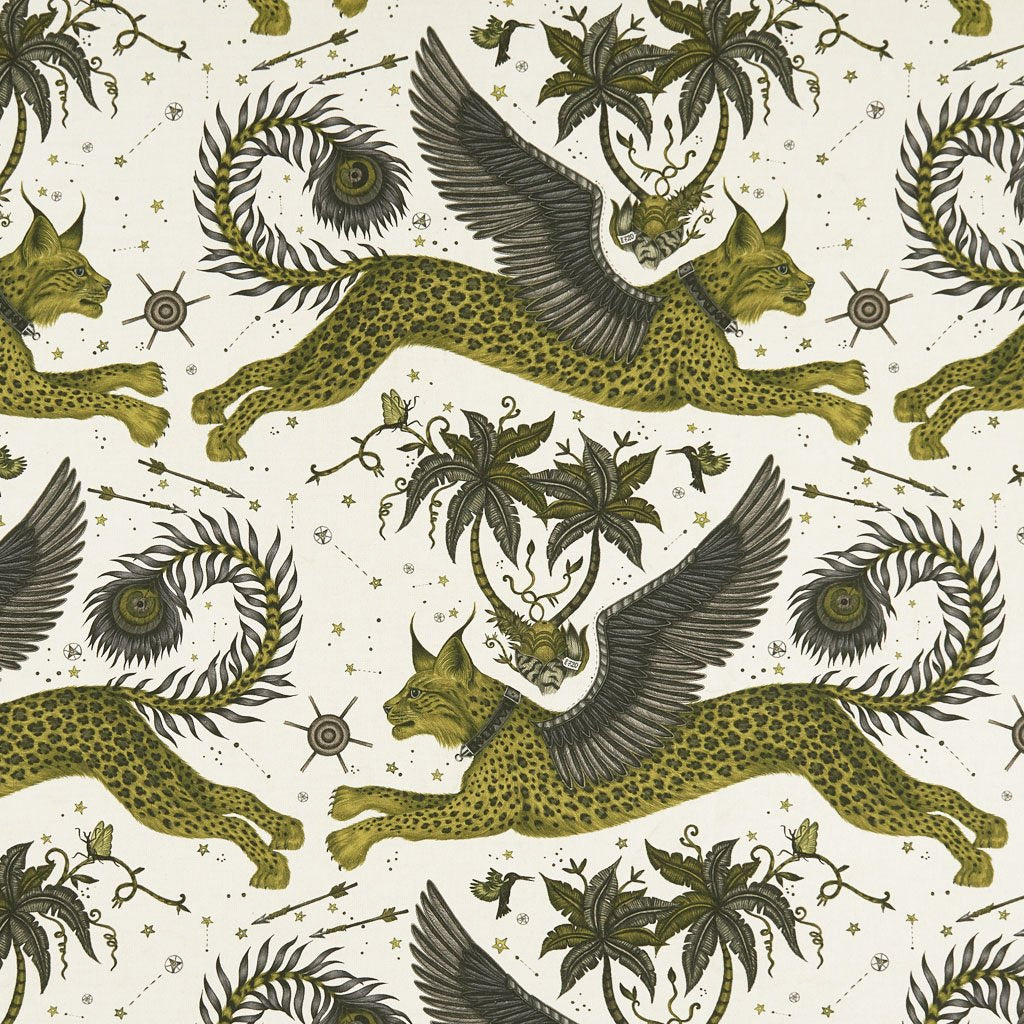 An overall view of the Lynx Print in Gold, printed onto Linen for the new Wilderie collection done by Emma J Shipley with Clarke & Clarke