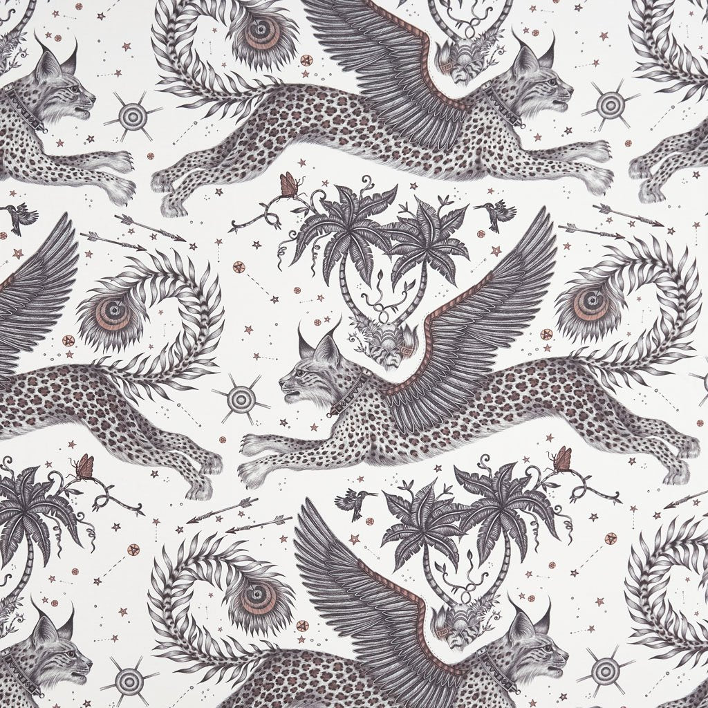 A Close up of the Lynx print on Cotton Satin, good for upholstery, blinds and Curtains