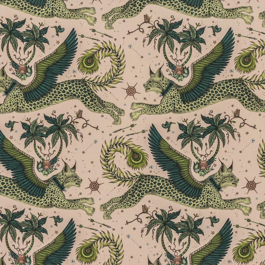 An overall view of the Lynx Print in Lime, printed onto Linen for the new Wilderie collection done by Emma J Shipley with Clarke & Clarke