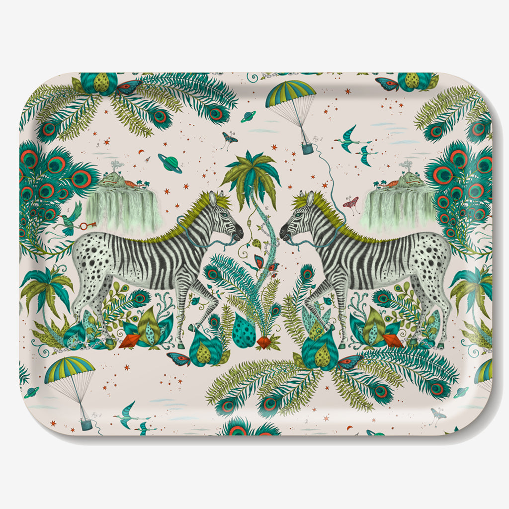 The Lost World Tray features one of our signature illustrations upon a birch wood tray in collaboration with Jamida. Designed by Emma J Shipley