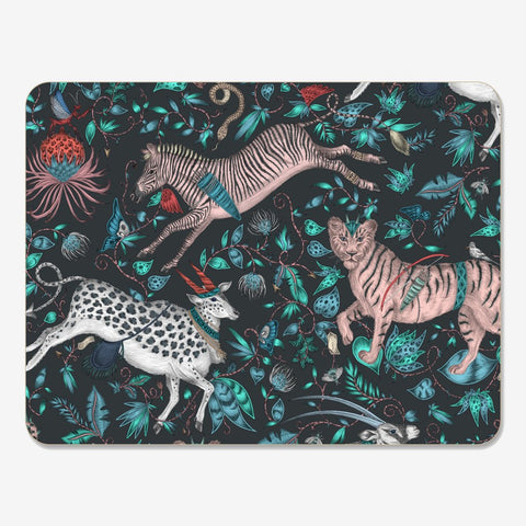 Emma J Shipley and Jamida collaborated on the Protea Placemat, featuring a hand drawn scene of magical creatures