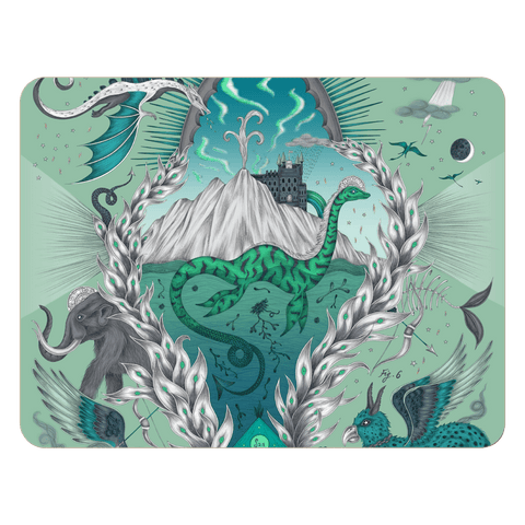 The Turquoise Highlandia large placemat features mammouths, dragons and the loch ness monster, designed by Emma J Shipley