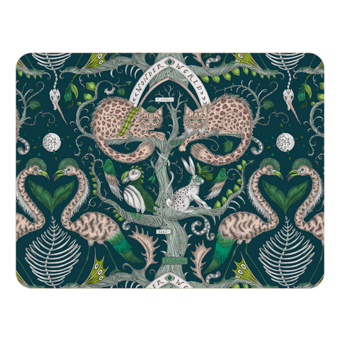 The teal wonder world large placemat features a cheshire cat, tree trunk, puffin and a masked hare, designed by Emma J Shipley