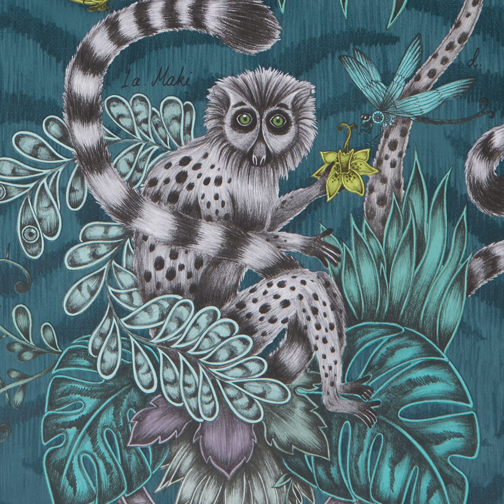 The luxurious Lemur wallpaper designed by Emma J Shipley x Clarke & Clarke