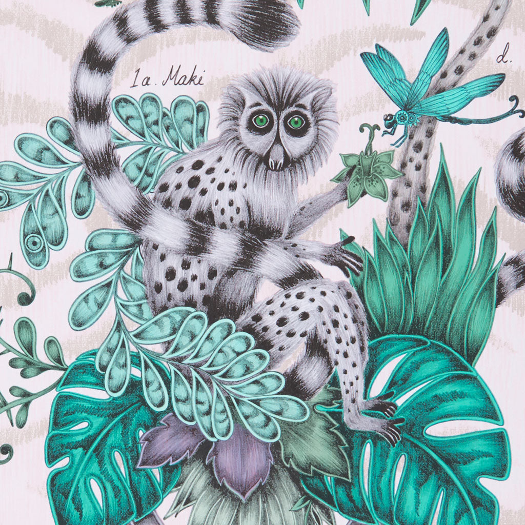Detail of the exquisitely hand drawn lemur design by Emma J Shipley
