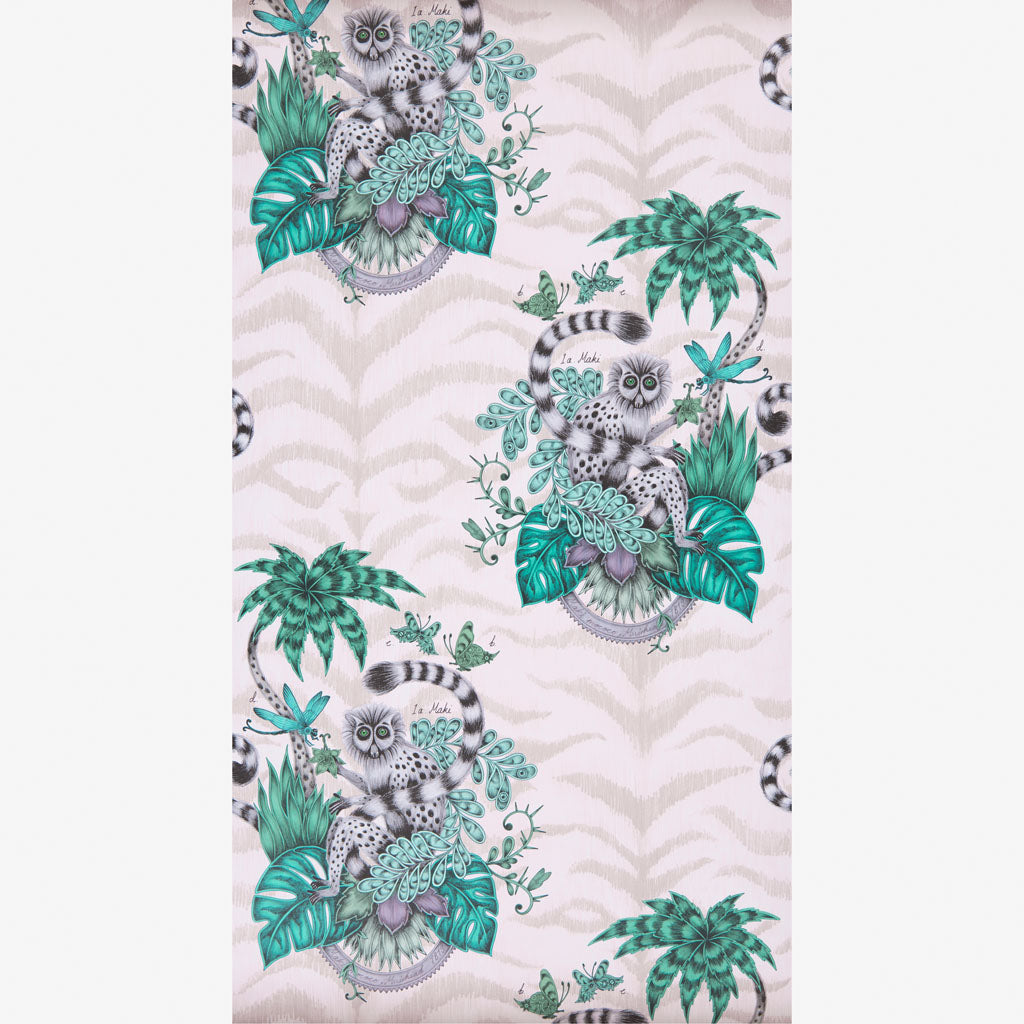 The luxurious and playful Lemur wallpaper designed by Emma J Shipley x Clarke & Clarke