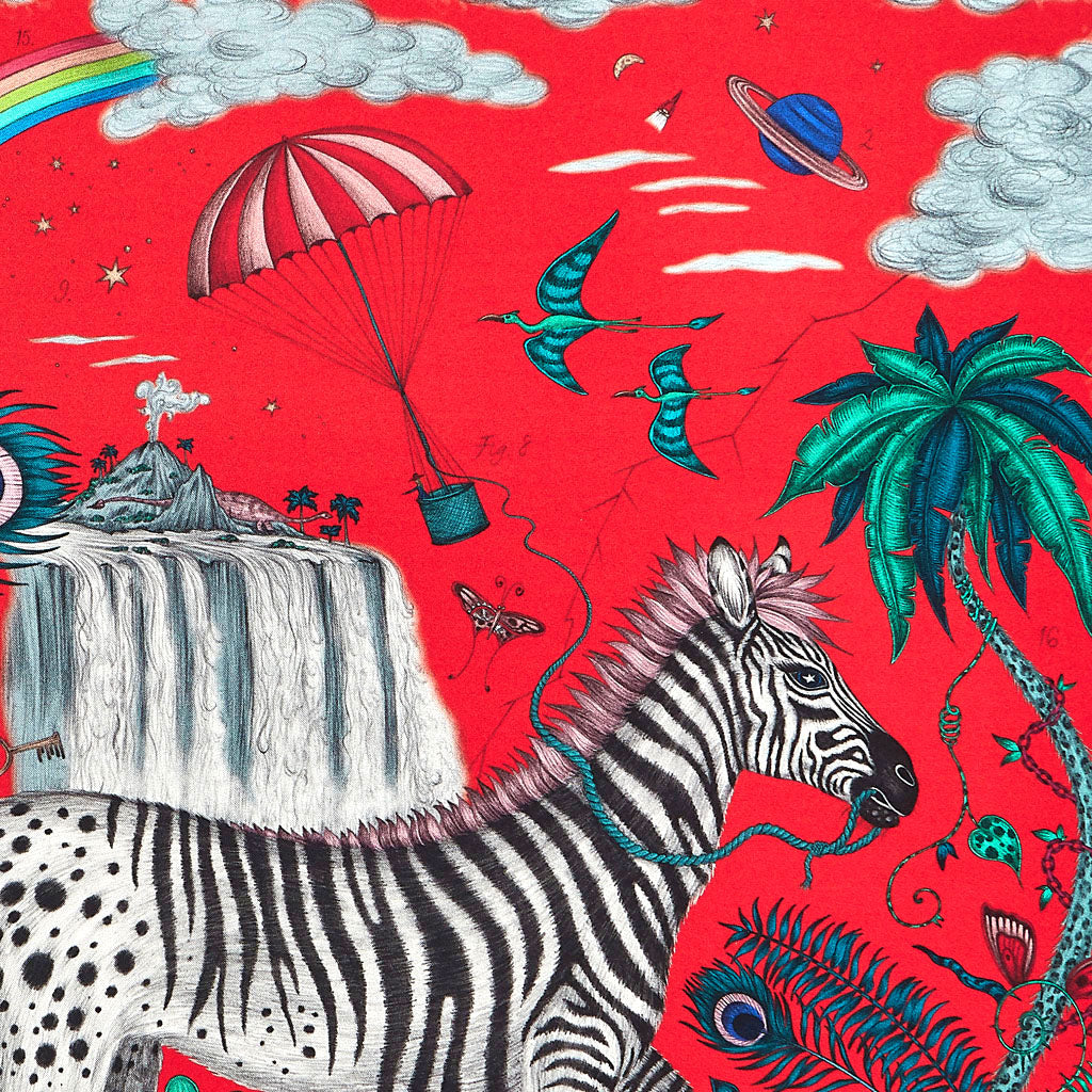 A close look at the volcano, planets and parachute, in this luxurious red the print is bold and magical, hand drawn by Emma J Shipley and printed on fine silk