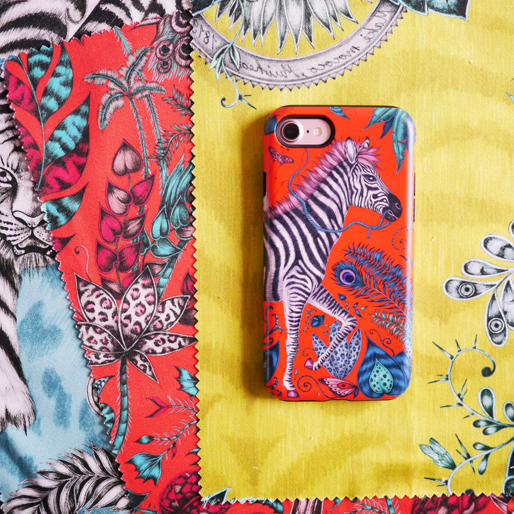 The Lost World Phone Case designed by Emma J Shipley features a magical zebra on a journey across a tropical scene