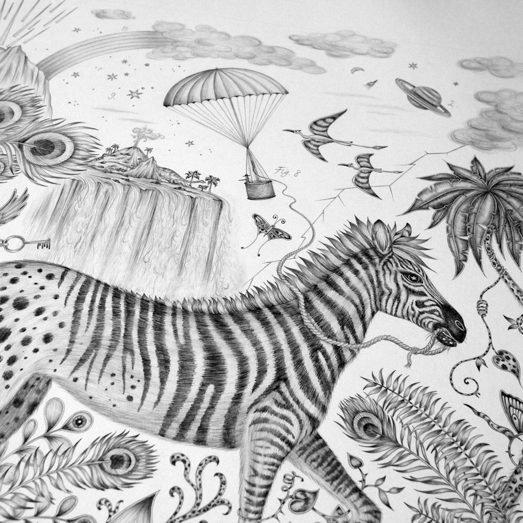The magical zebra from Emma J Shipley's original pencil drawing of the Lost World design