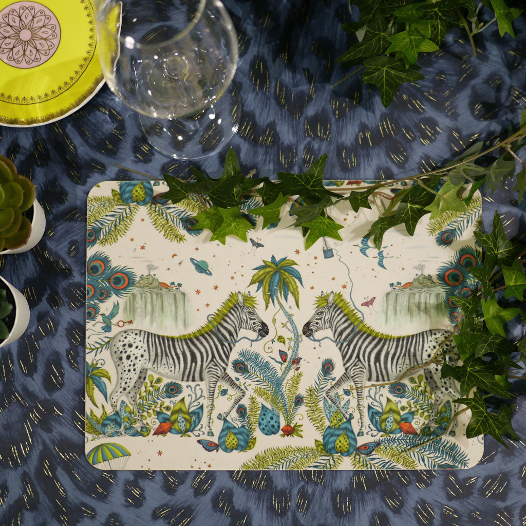Emma J Shipley Lost World placemat featuring an African inspired scene with zebra and palm trees