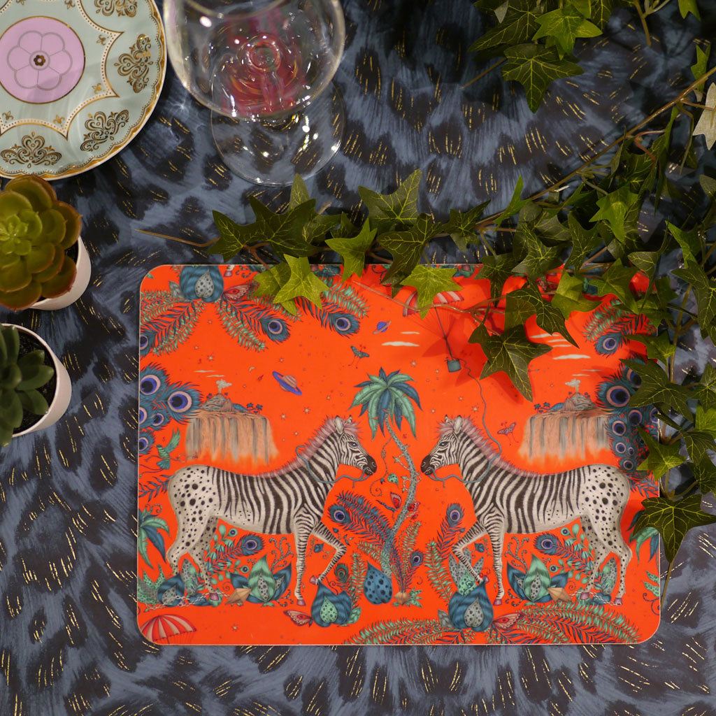 Emma J Shipley Lost World placemat in red with zebras and African inspiration