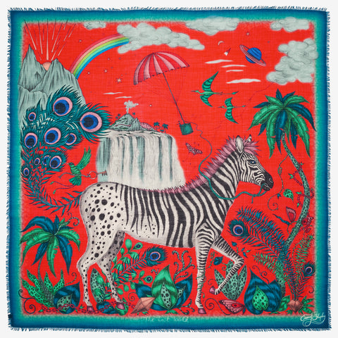 The magical African safari scene depicted in the Lost World Fine Wool Scarf, hand drawn and designed by Emma J Shipley