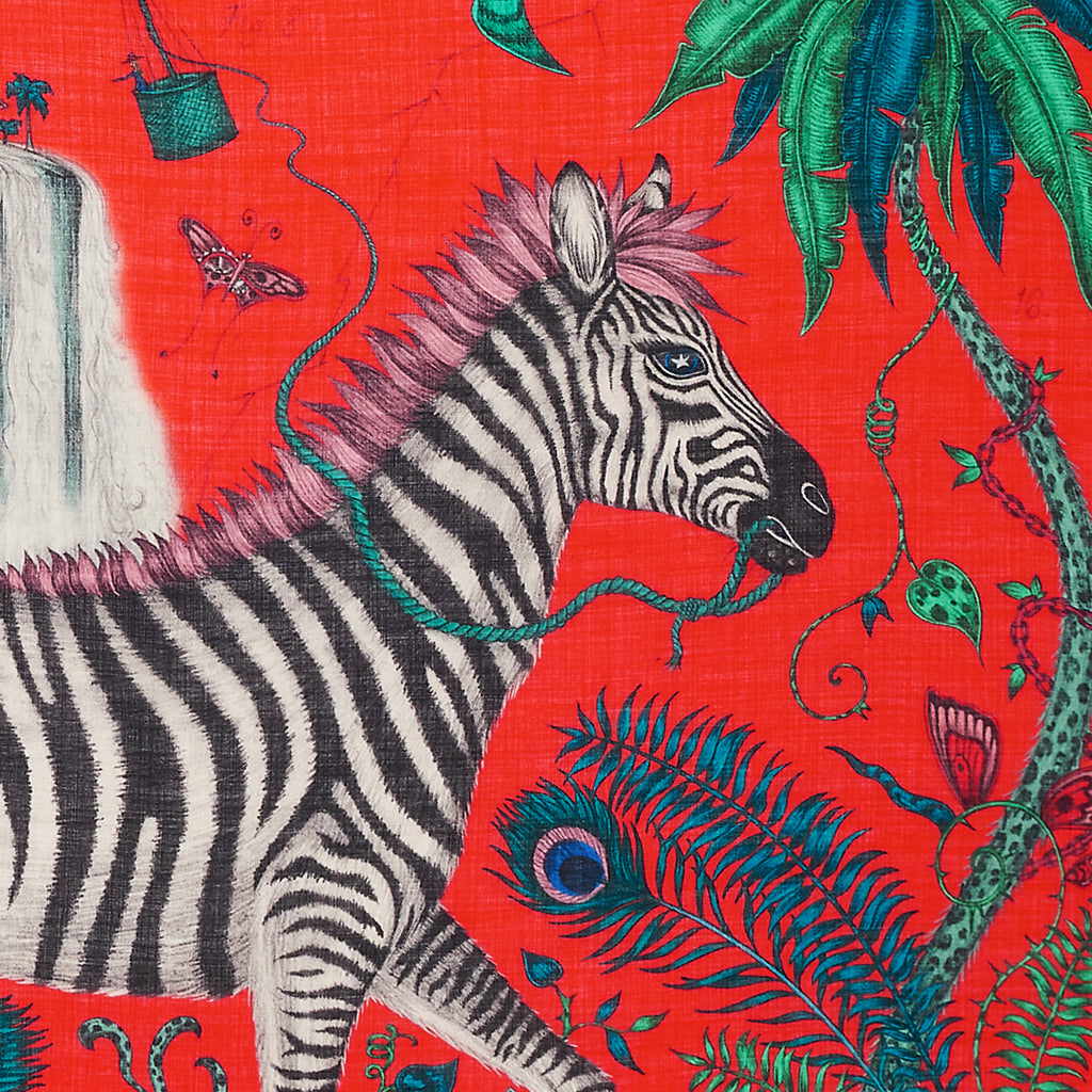 Magical creatures fill the scene of the Lost World Fine Wool Scarf, as part of Emma J Sihipley's Explorer scarf collection. The perfect exotic, tropical, luxurious fine wool scarf
