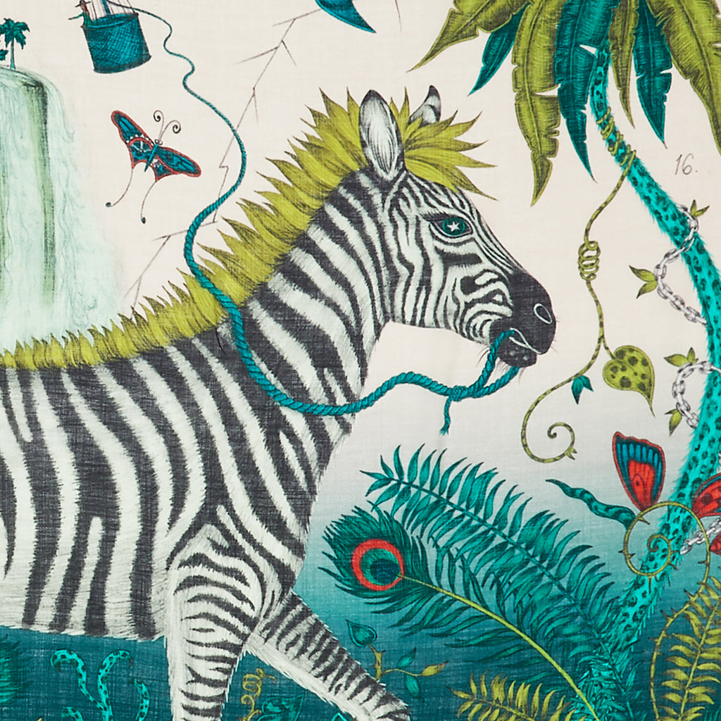 The magical zebra of the Lost World design, hand drawn by Emma J Shipley features on our lime fine wool scarf, as part of the magical Explorer collection