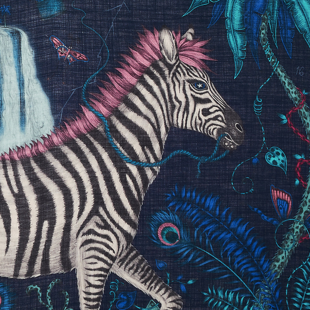 The Lost World Fine Wool Scarf by Emma J Shipley features a majestic zebra with starry eyes