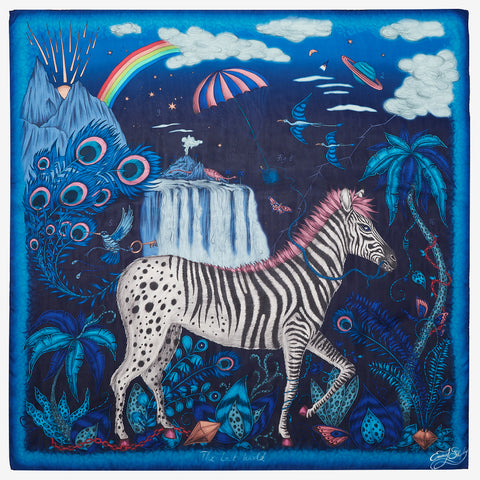 Enjoy the full scene of the magical Lost World design on the midnight blue Silk Chiffon Scarf designed by Emma J Shipley