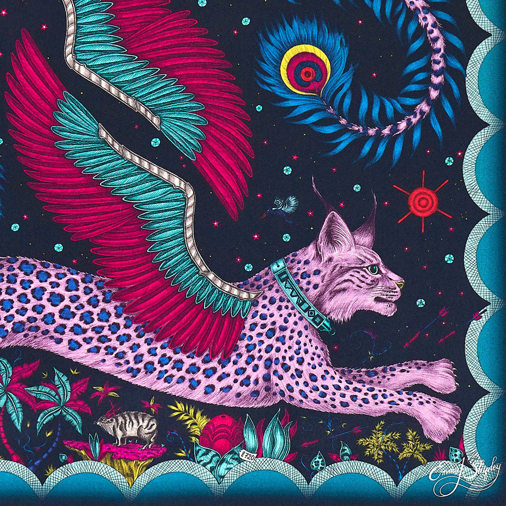 A closer look at the Pink Lynx on the Silk Artwork piece. Showing the cat and it's wings in great detail.