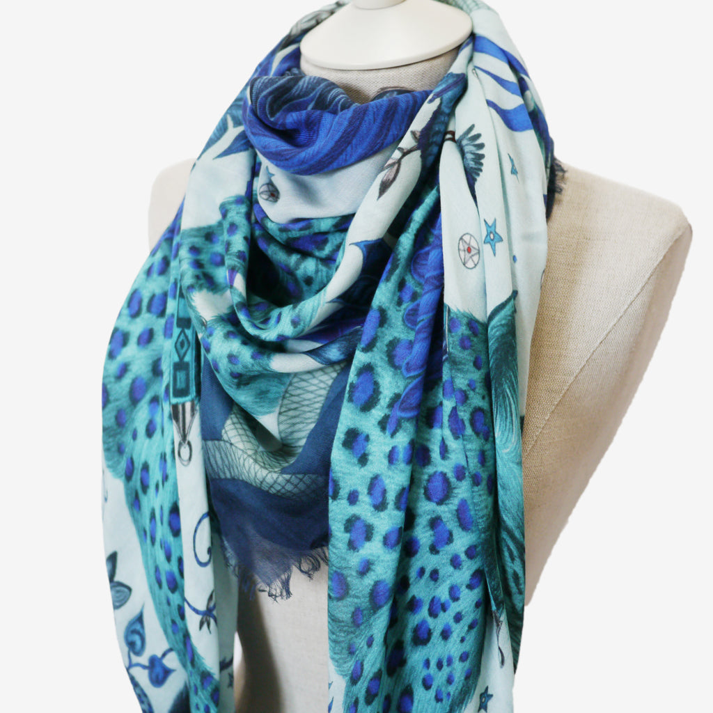 An exotic blue lynx modal blend scarf to add an air of wonder to your wardrobe